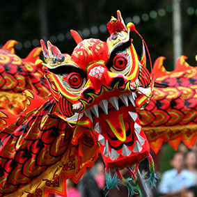 Dragon dance during Chinese New Year festival