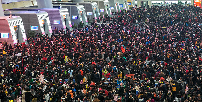 Guangzhou train station during Chinese New Year