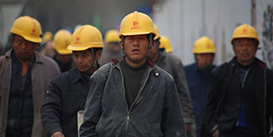 Chinese workers out from factory
